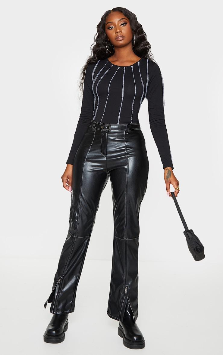 Black Seam Detail Long Sleeve Bodysuit 3
