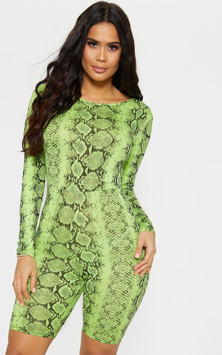 Lime Snake Print Long Sleeve Scoop Back Unitard 4