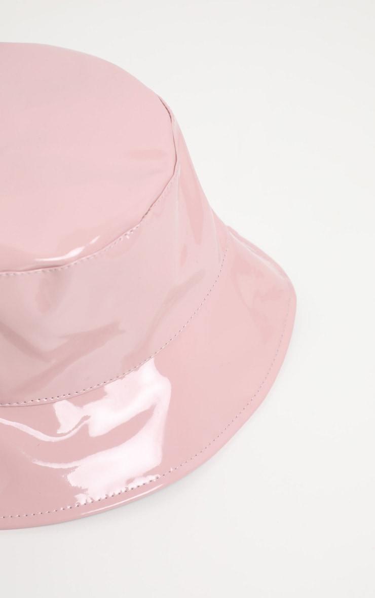 Pale Pink PU Vinyl Bucket Hat 2