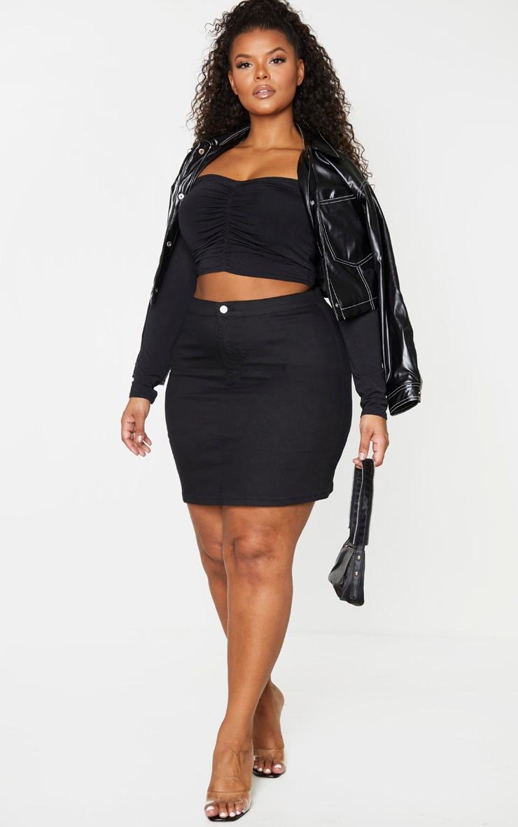PLT Plus - Jupe en jean disco ajustée noire 3