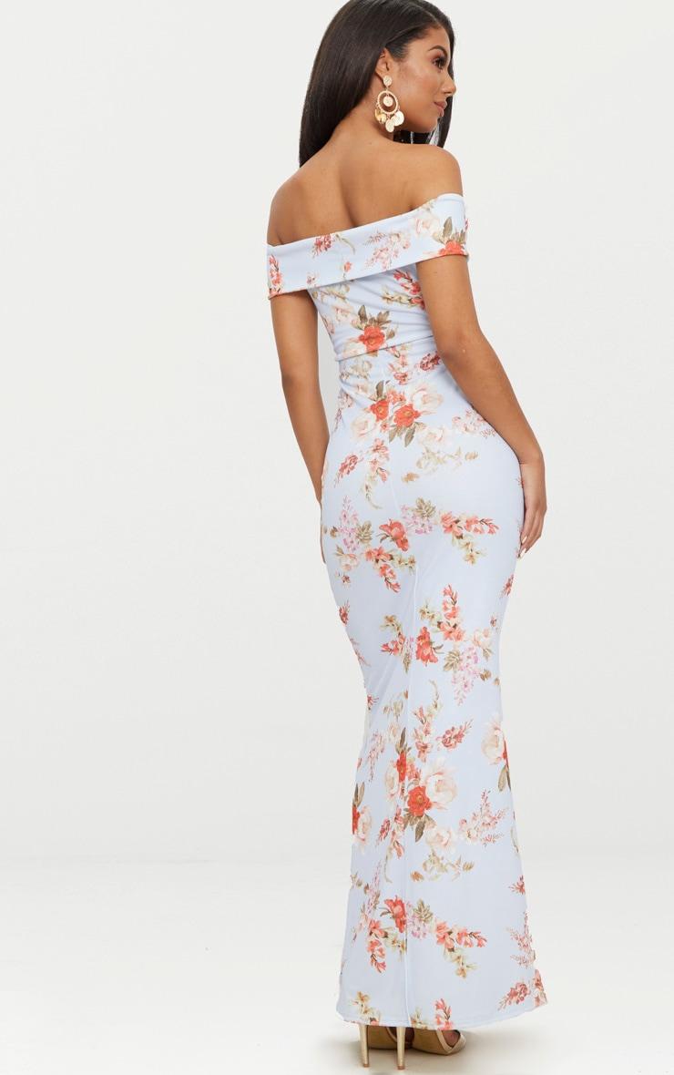 Dusty Blue Floral Print Bardot V Plunge Maxi Dress 2