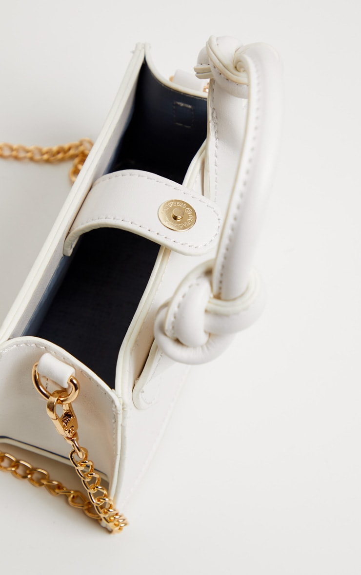 White PU Knotted Single Handle Cross Body Bag 5