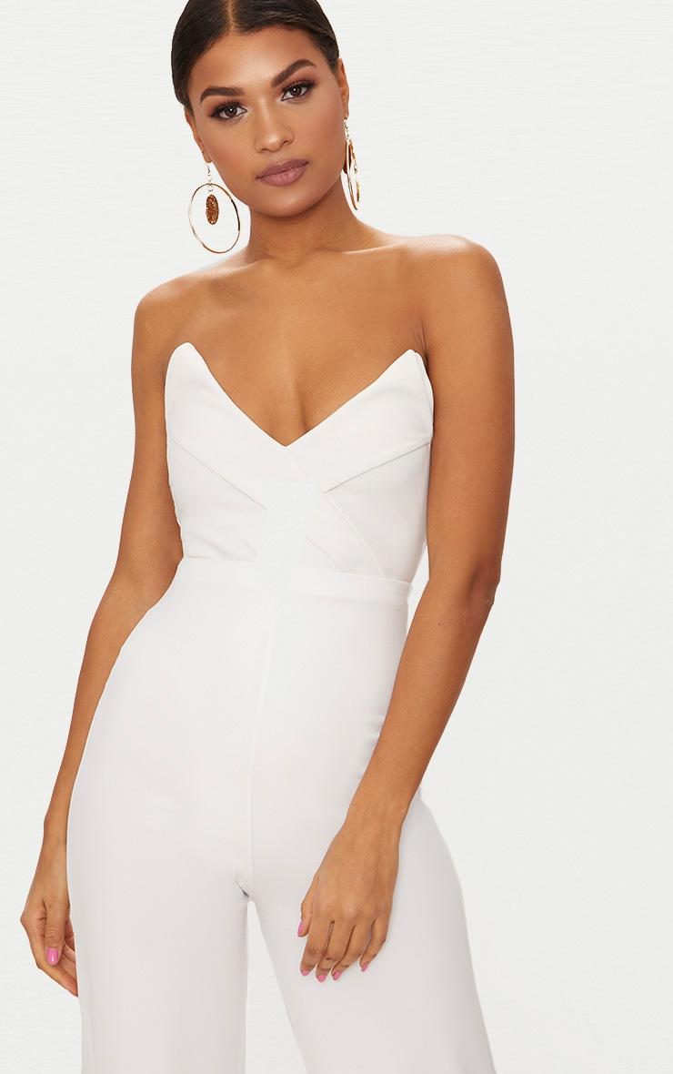 White Tux Detail Bandeau Thong Bodysuit  1