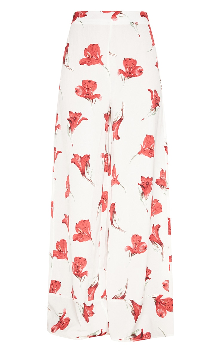 White Floral Printed Wide Leg Trouser 3
