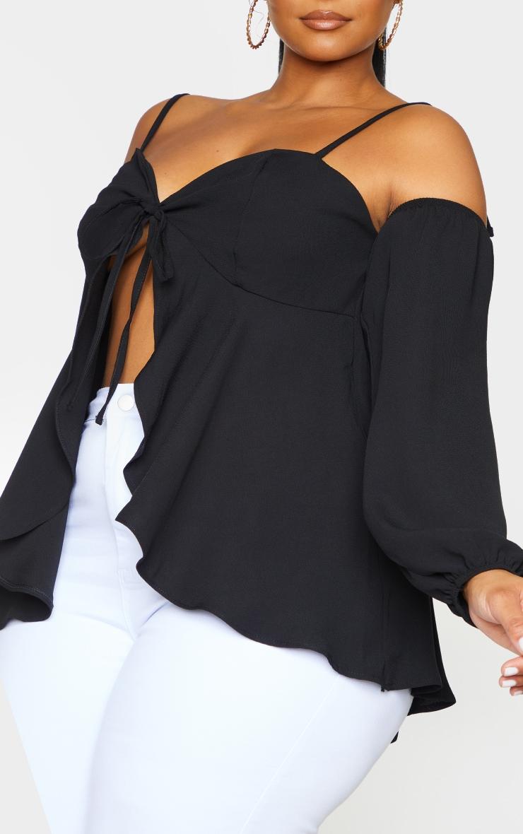 Plus Black Bardot Split Blouse 4