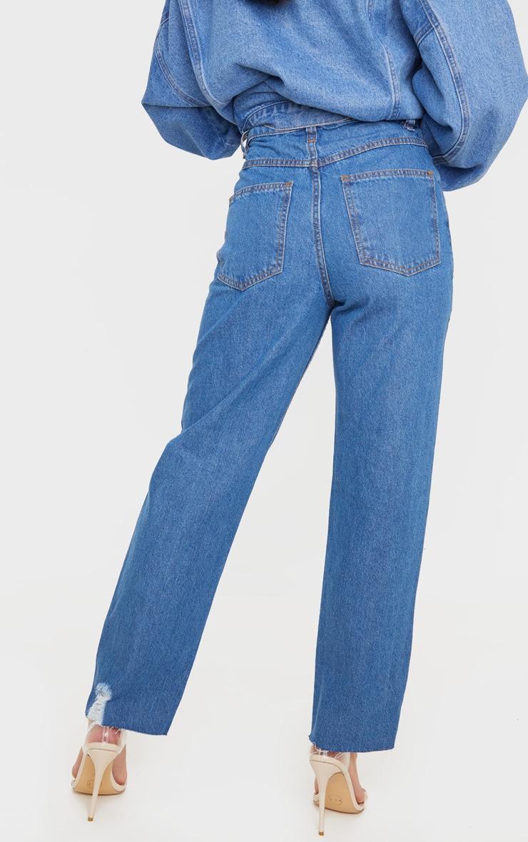 Petite Mid Wash Distressed Knee Stepped Hem Jeans 4