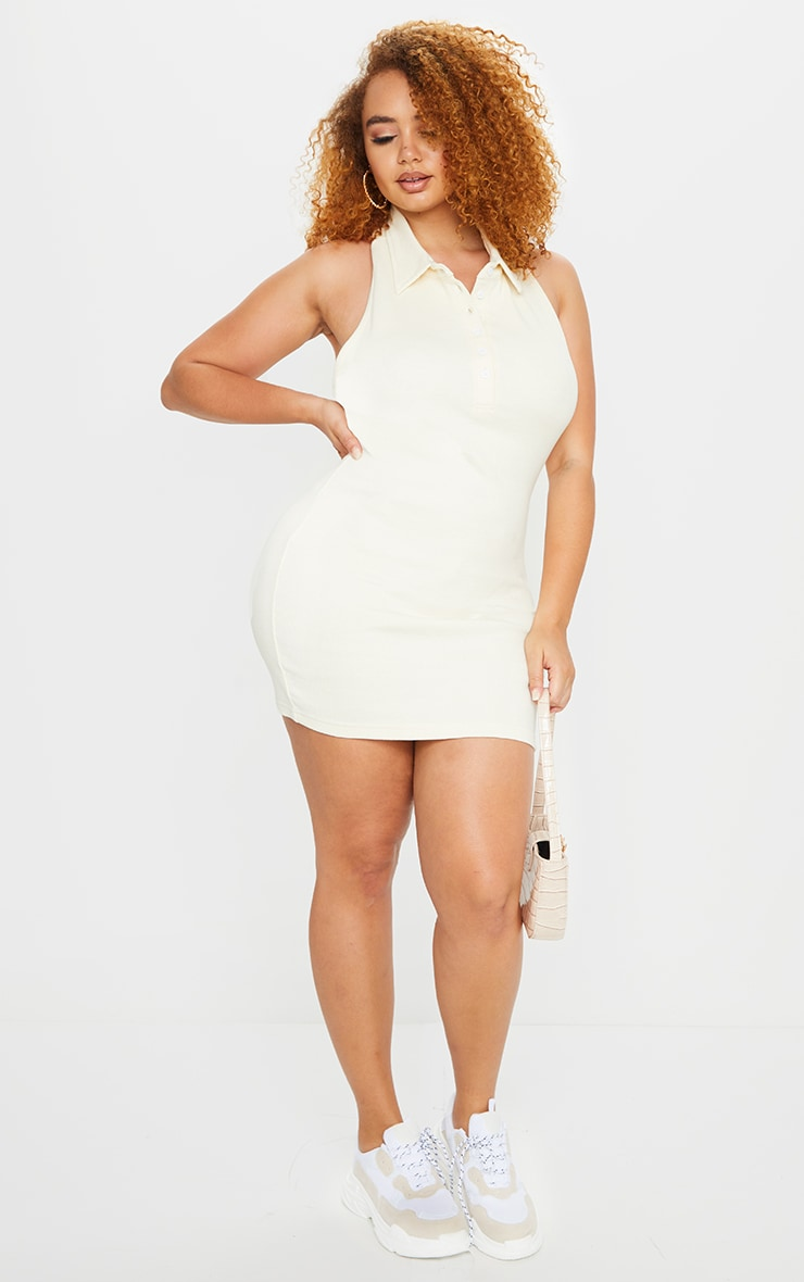 Plus Cream Rib Collar Detail Bodycon Dress 1