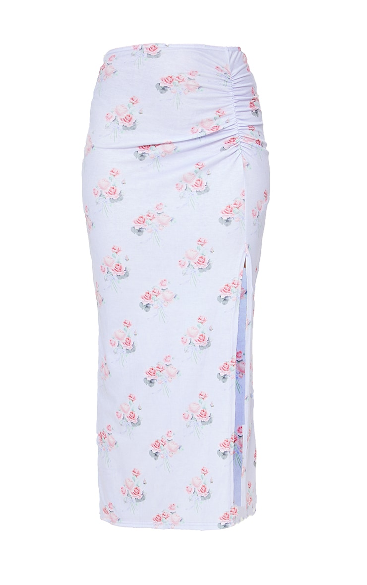 Lilac Floral Print Ruched Side Split Midi Skirt 5