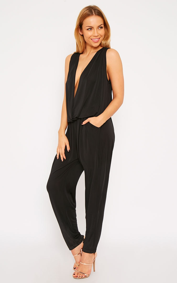 Agneta Black Wrap Front Jumpsuit  4
