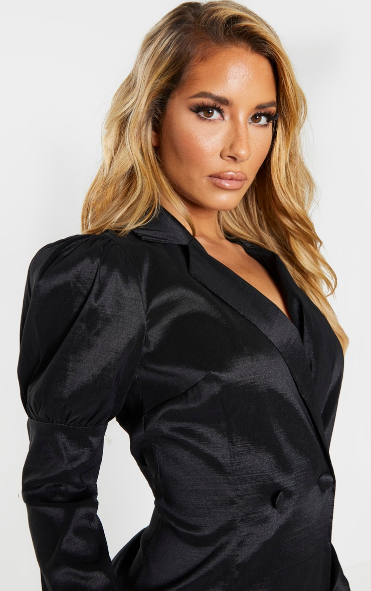Black Woven Puff Sleeve Blazer Dress 4