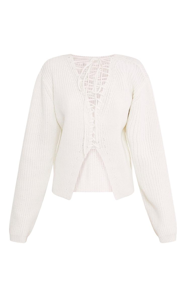Cora Cream Cropped Knit Tie Jumper 3