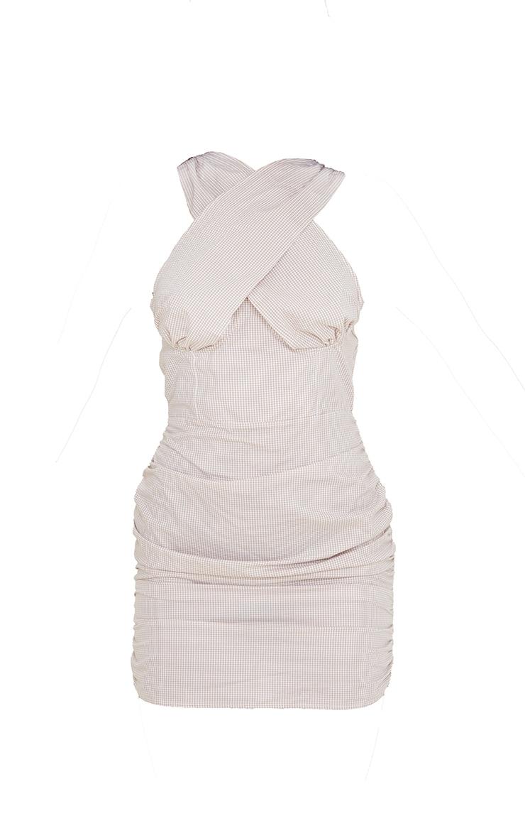 Stone Check Underbust Halterneck Ruched Bodycon Dress 5