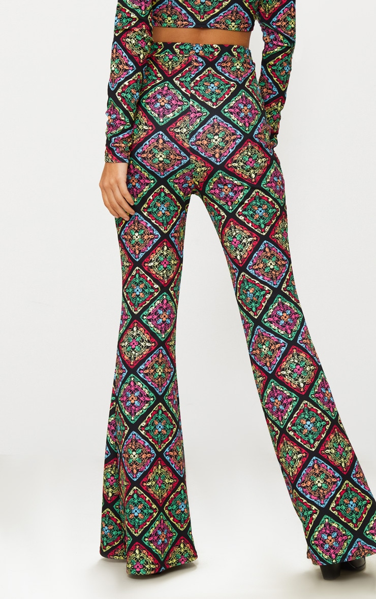 Multi Printed Crochet Flared Trousers 4