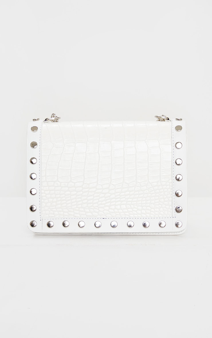 White Studded Croc Cross Body Bag 3