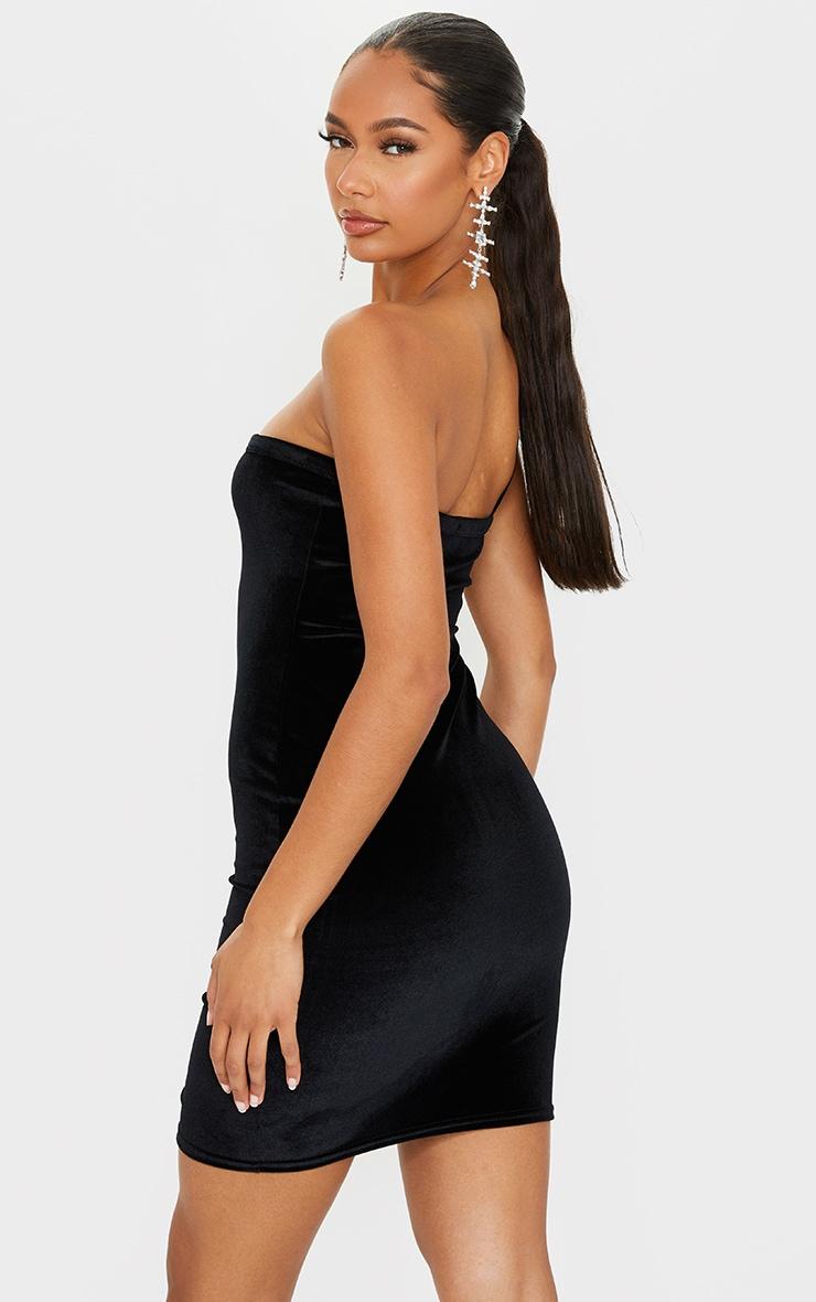Black Velvet One Shoulder Strap Detail Split Hem Bodycon Dress 2