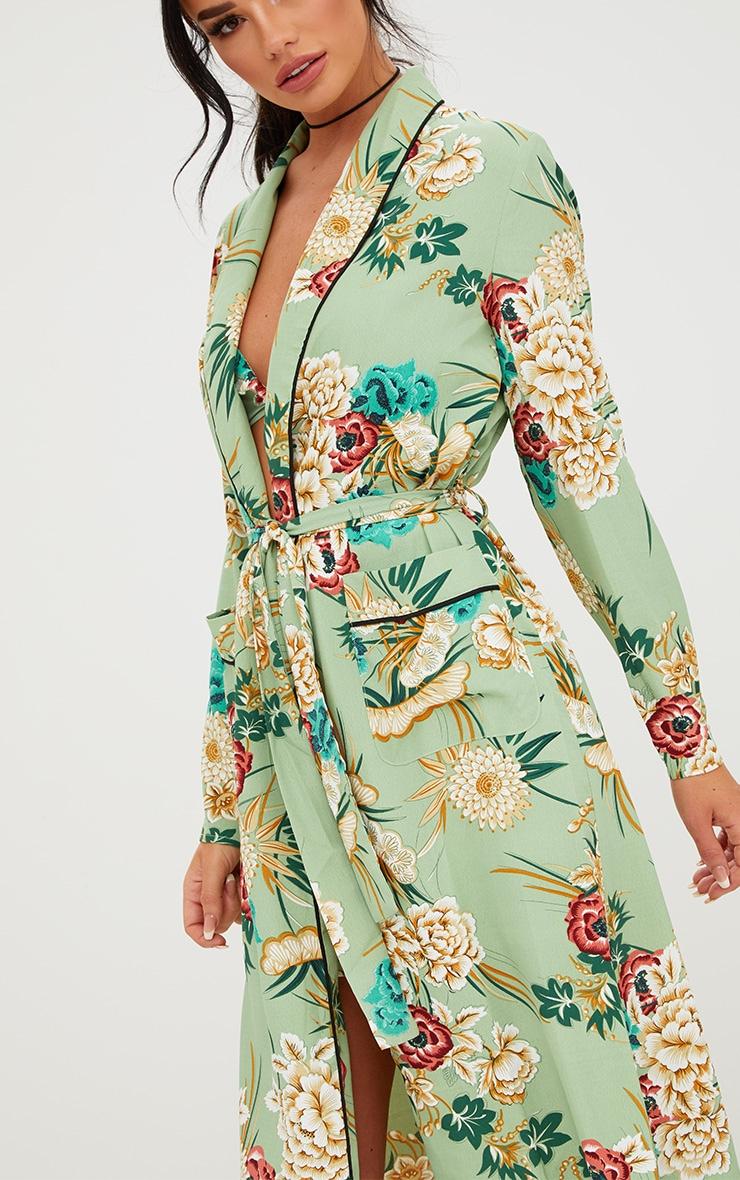 Sage Green Floral Maxi Kimono 5