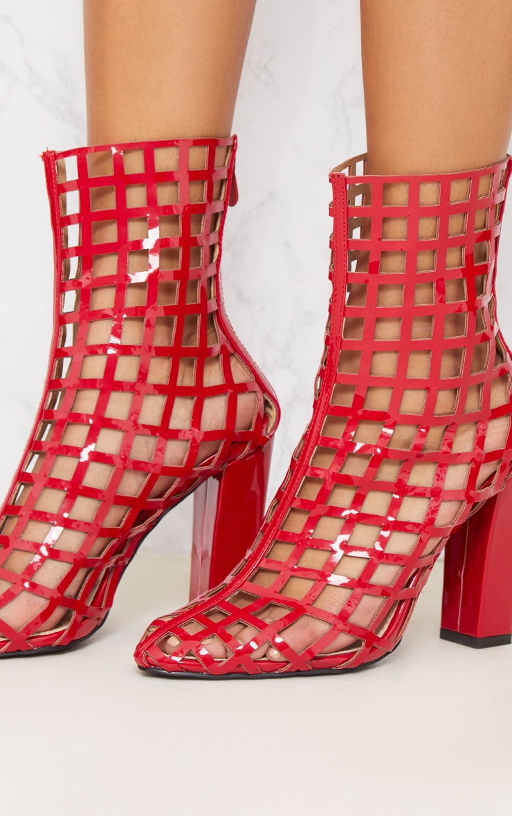 Red Caged Ankle Heeled Boot 6
