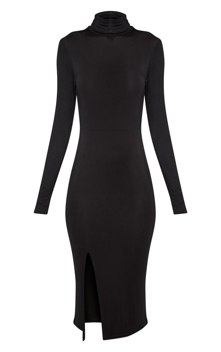 Sharia Black Jersey Roll Neck Split Midi Dress 3