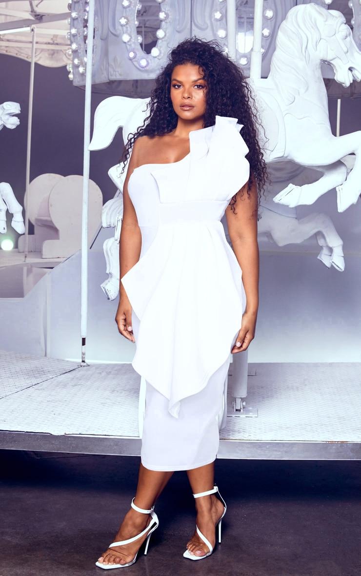 Plus White One Shoulder Pleated Detail Midi Dress 4