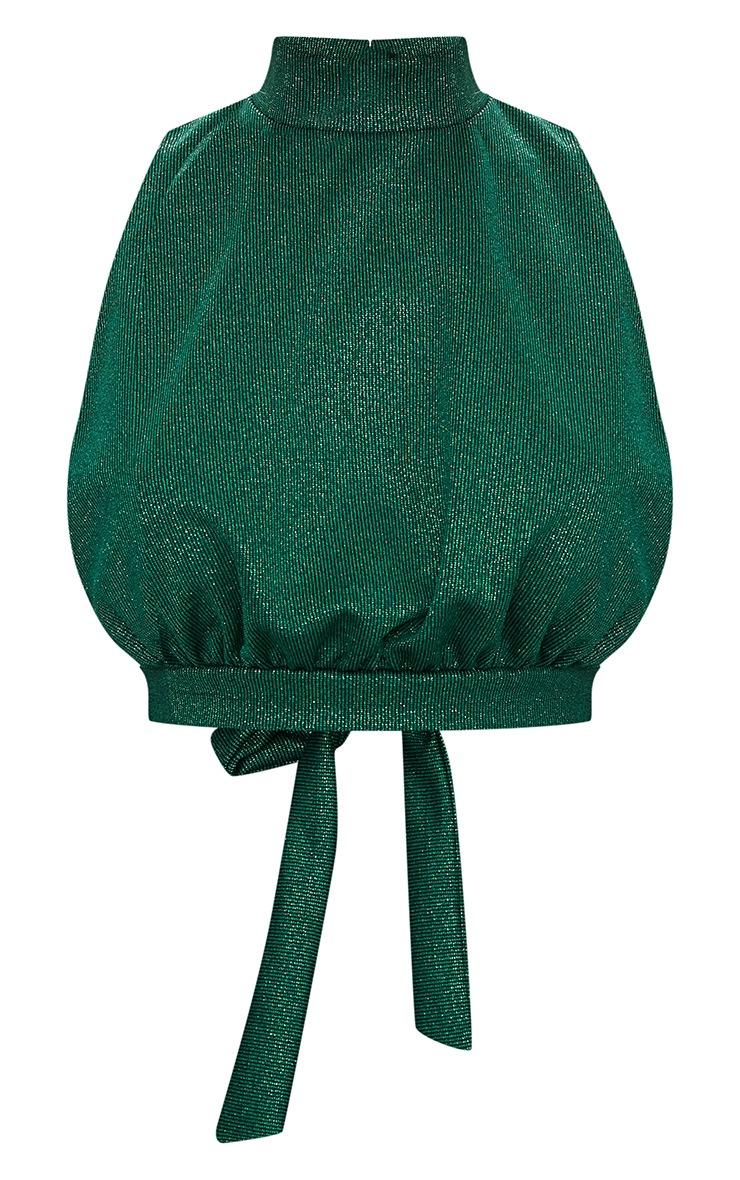 Emerald Green High Neck Open Back Crop Top  3