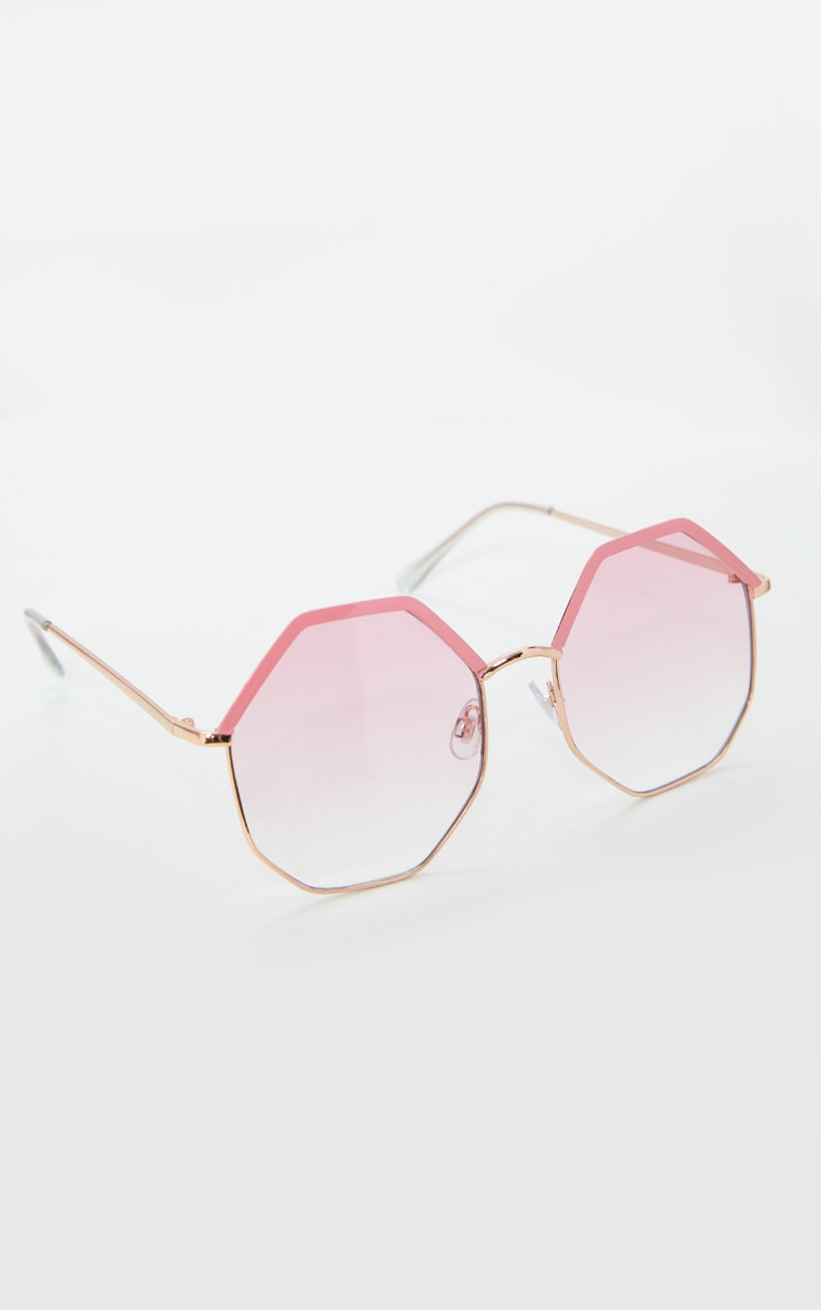 Pink Hexagon Frame Sunglasses 2