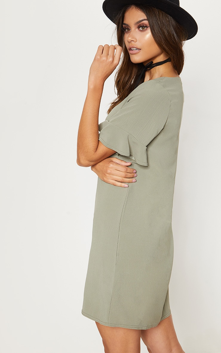 Khaki Button Through Frill Sleeve Shift Dress 2