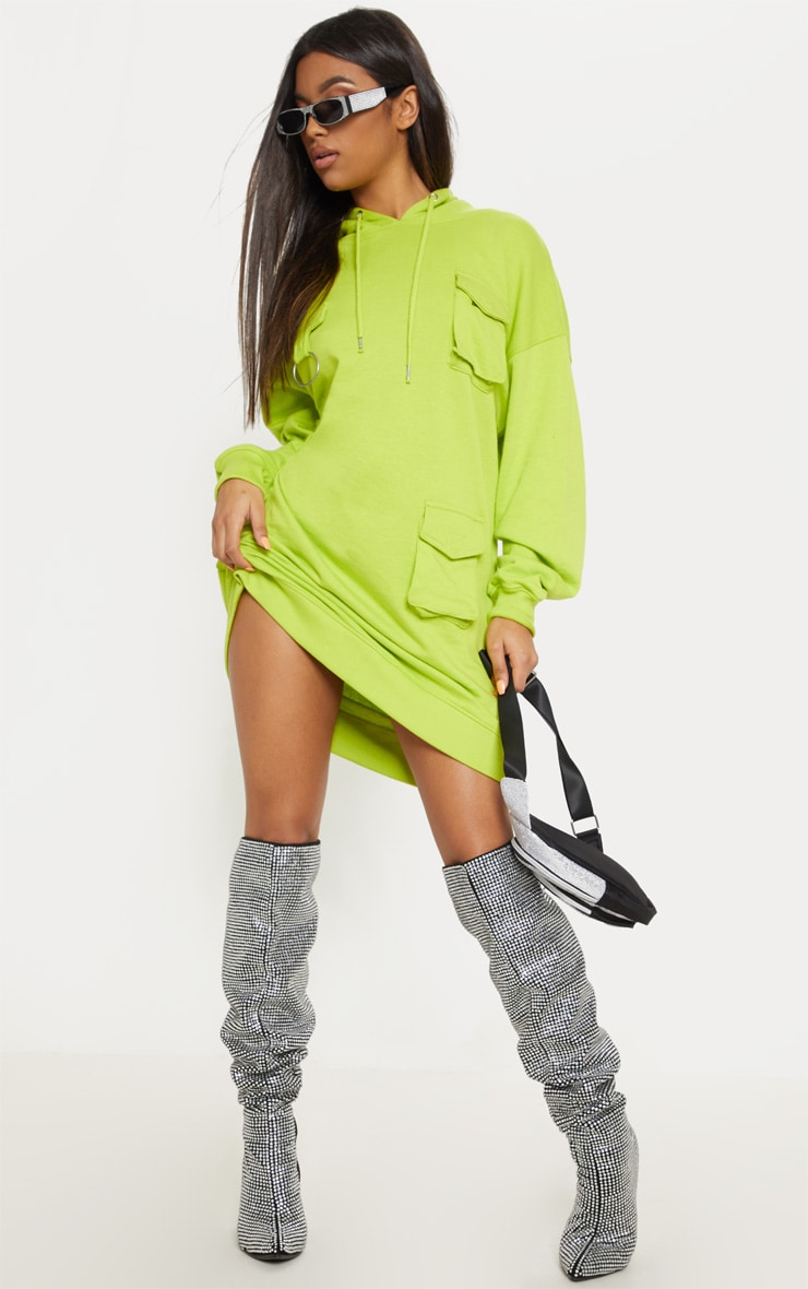 Neon Green Pocket Front Hoodie Dress