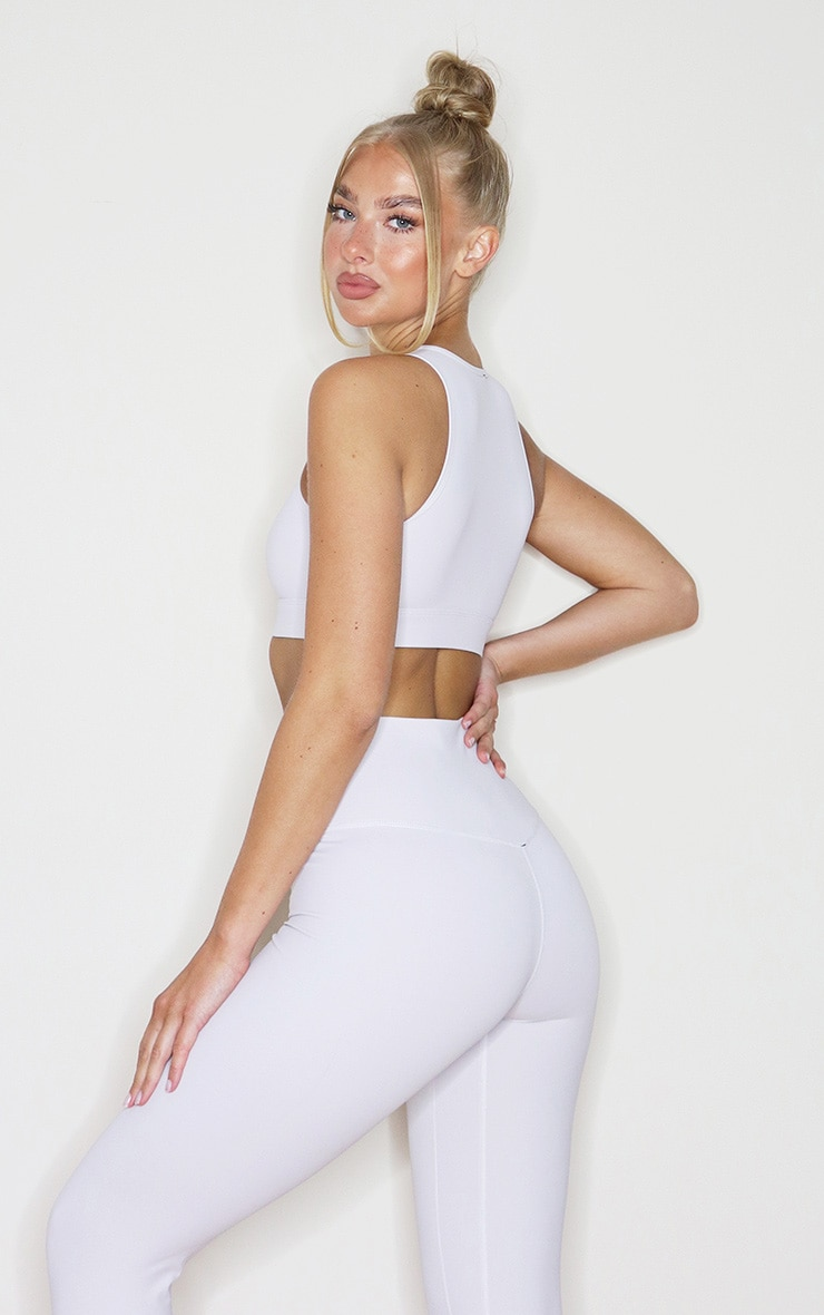 Light Grey Sculpt Luxe Racer Neck Sports Crop Top 2