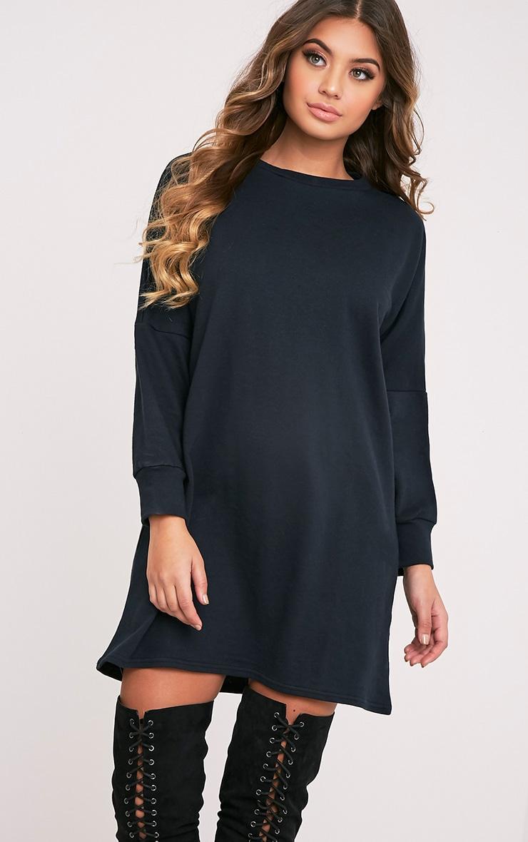 Laine robe pull surdimensionnée noire 1