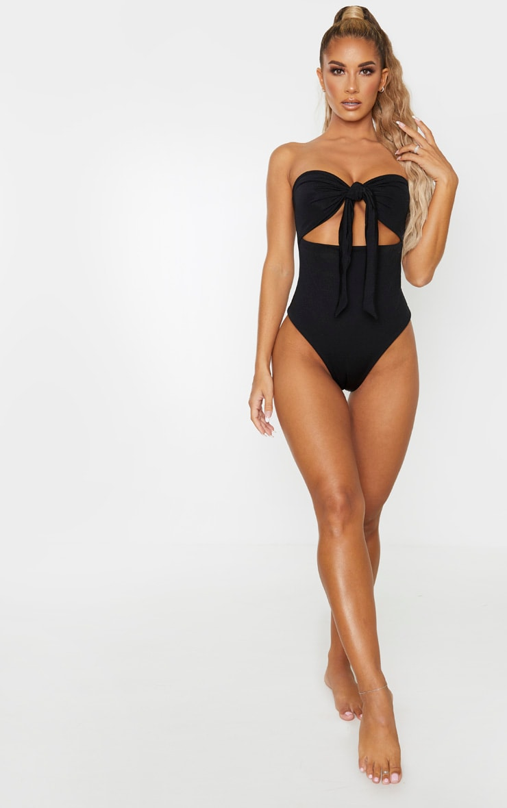 Black Bow Front Cut Out Swimsuit 4
