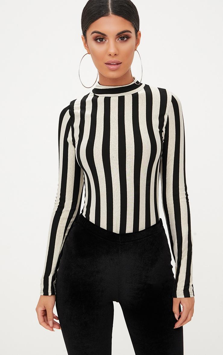 Monochrome Stripe Longsleeve Thong Bodysuit 1
