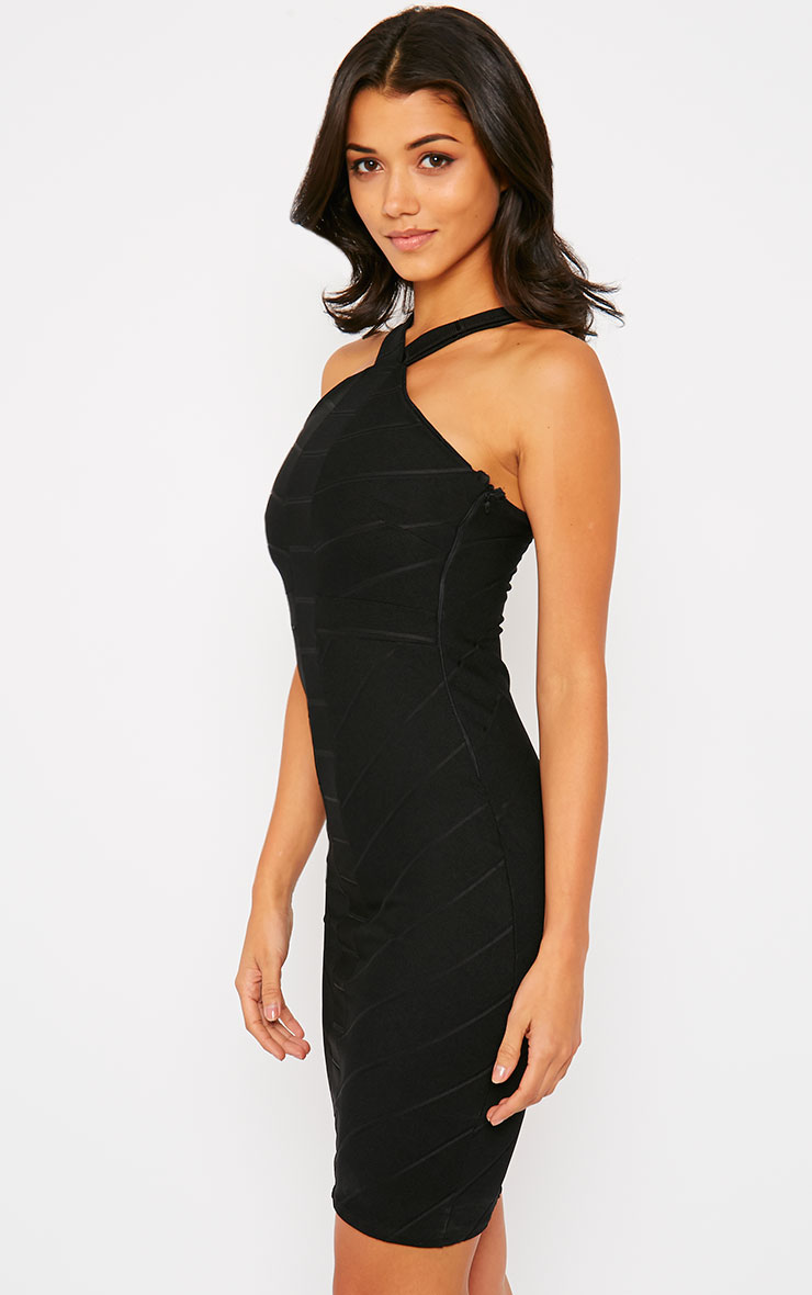 Becka Black Cross Front Bandage Dress 4