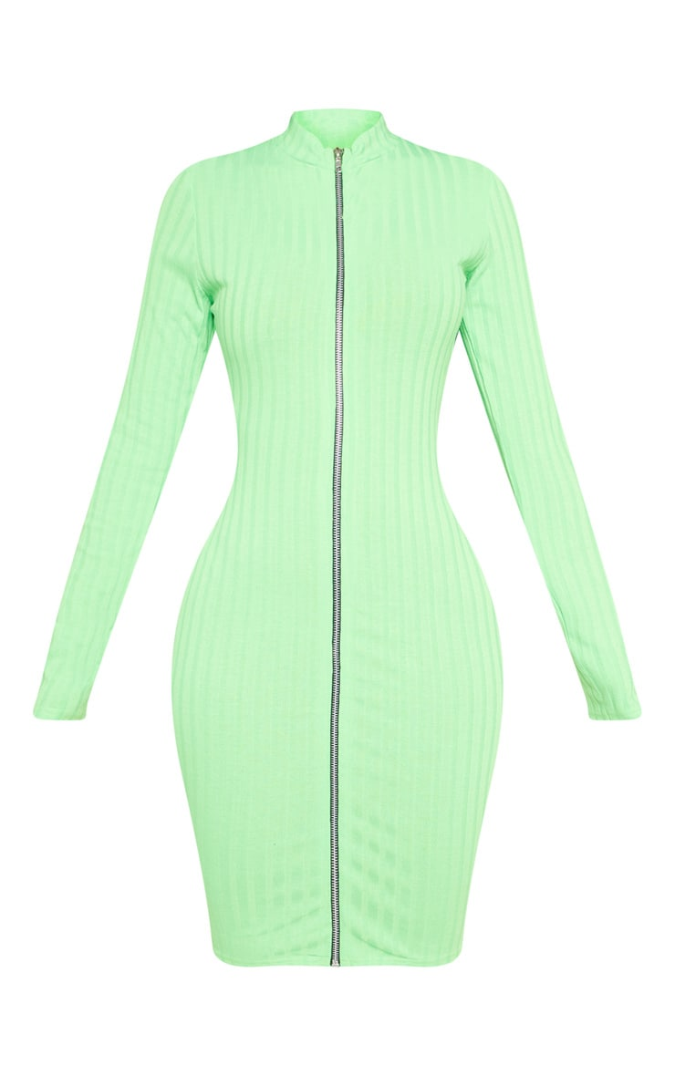 Shape Neon Lime Ribbed Zip Front Bodycon Dress 3
