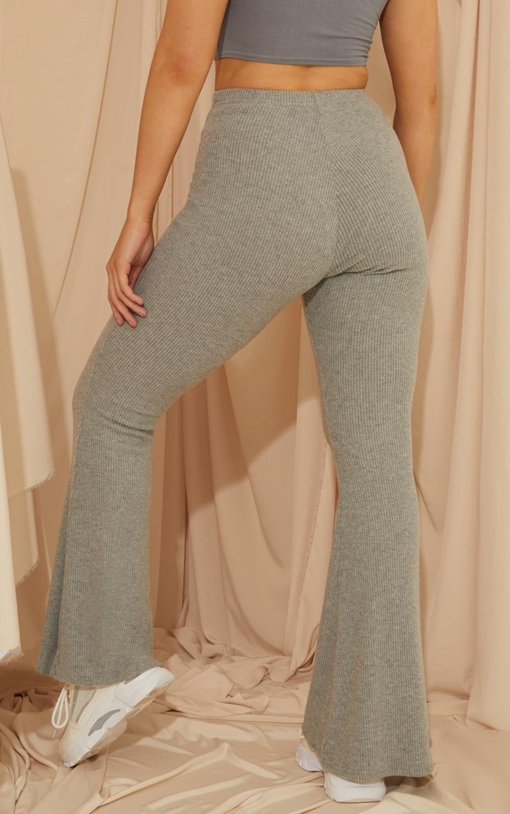 Grey Brushed Rib Flared Pants 3