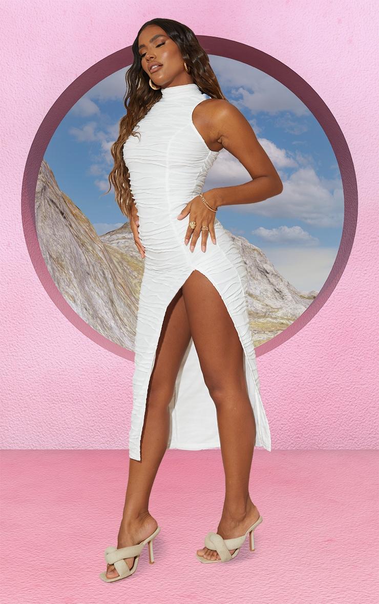 White Exposed Seam Detail High Neck Sleeveless Midaxi Dress 3