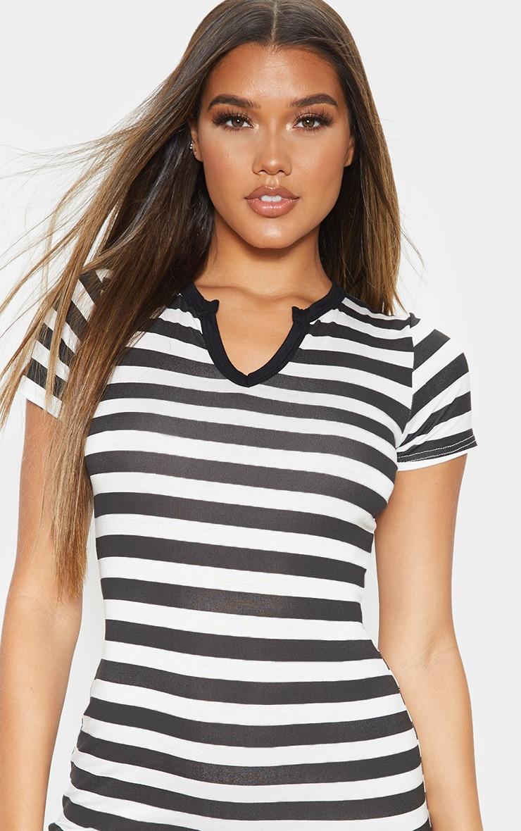 Black Stripe Cut Neck Bodycon Dress 5