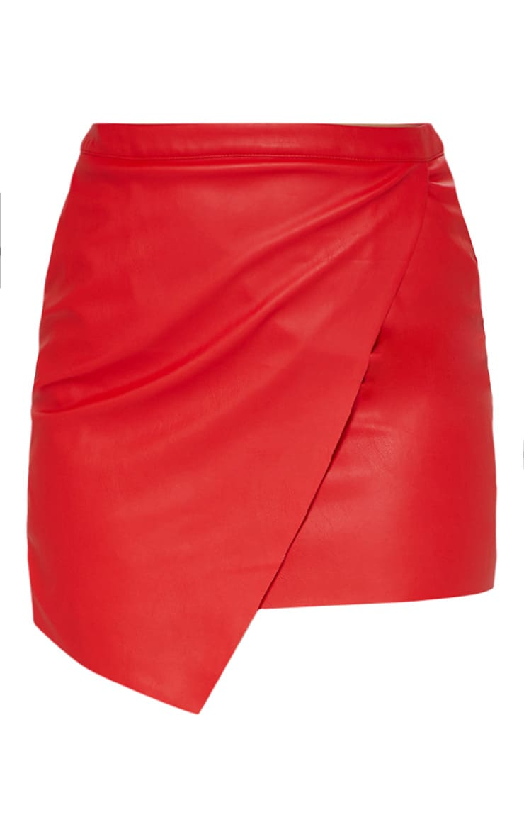 Red Faux Leather Wrap Mini Skirt 3