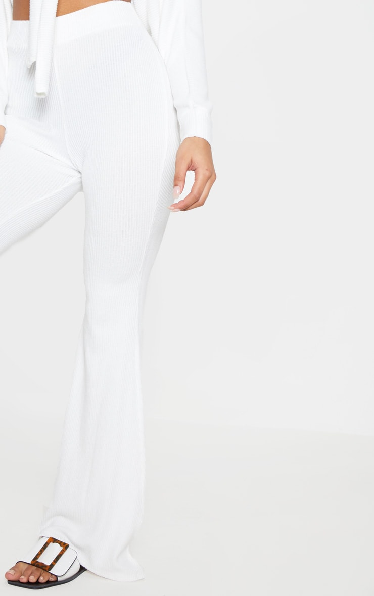 Cream Soft Rib Flare Leg Trousers 6