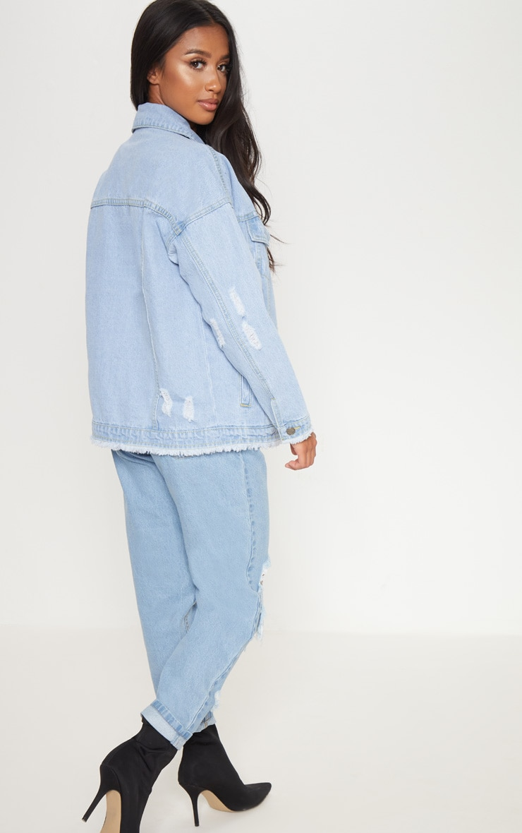 Petite Light Wash Distressed Oversized Denim Jacket 2