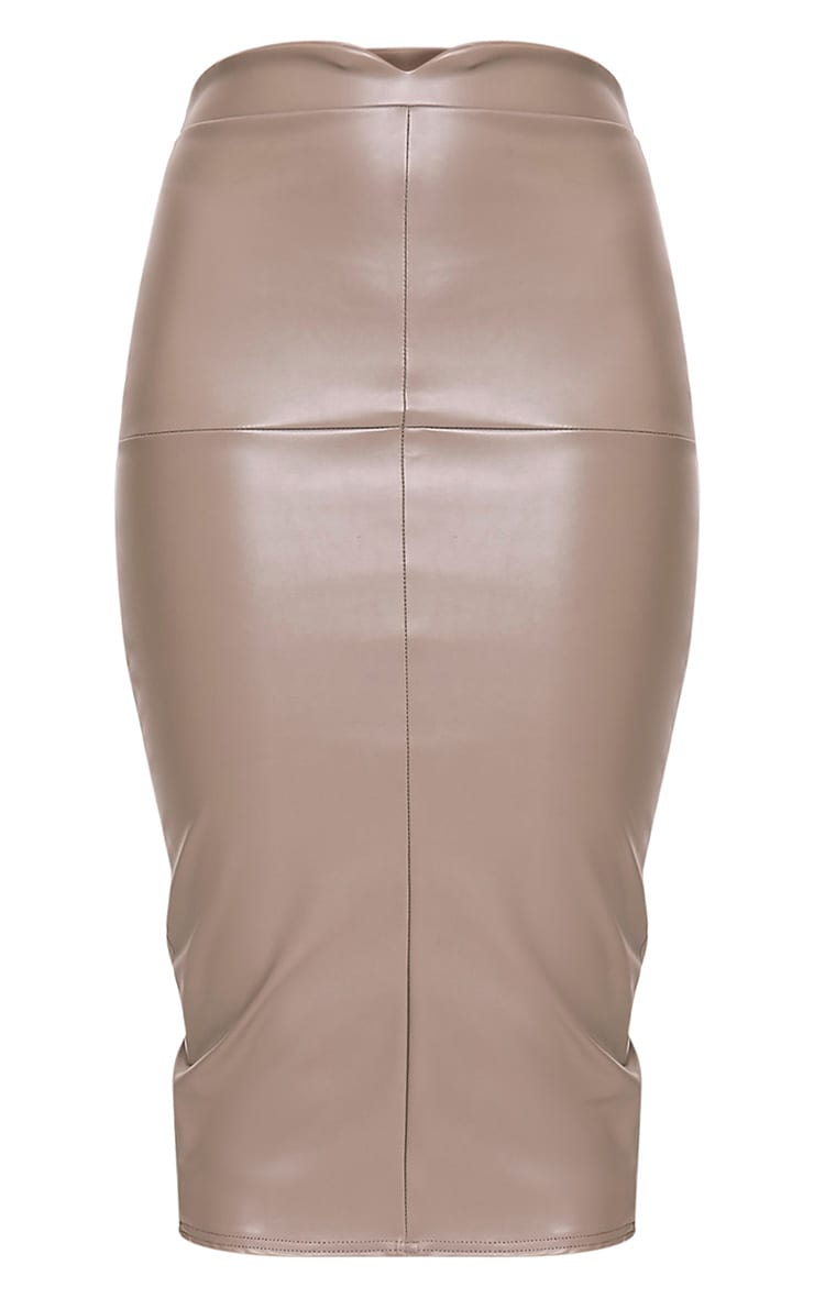 Eva Taupe Faux Leather Panel Midi Skirt 3