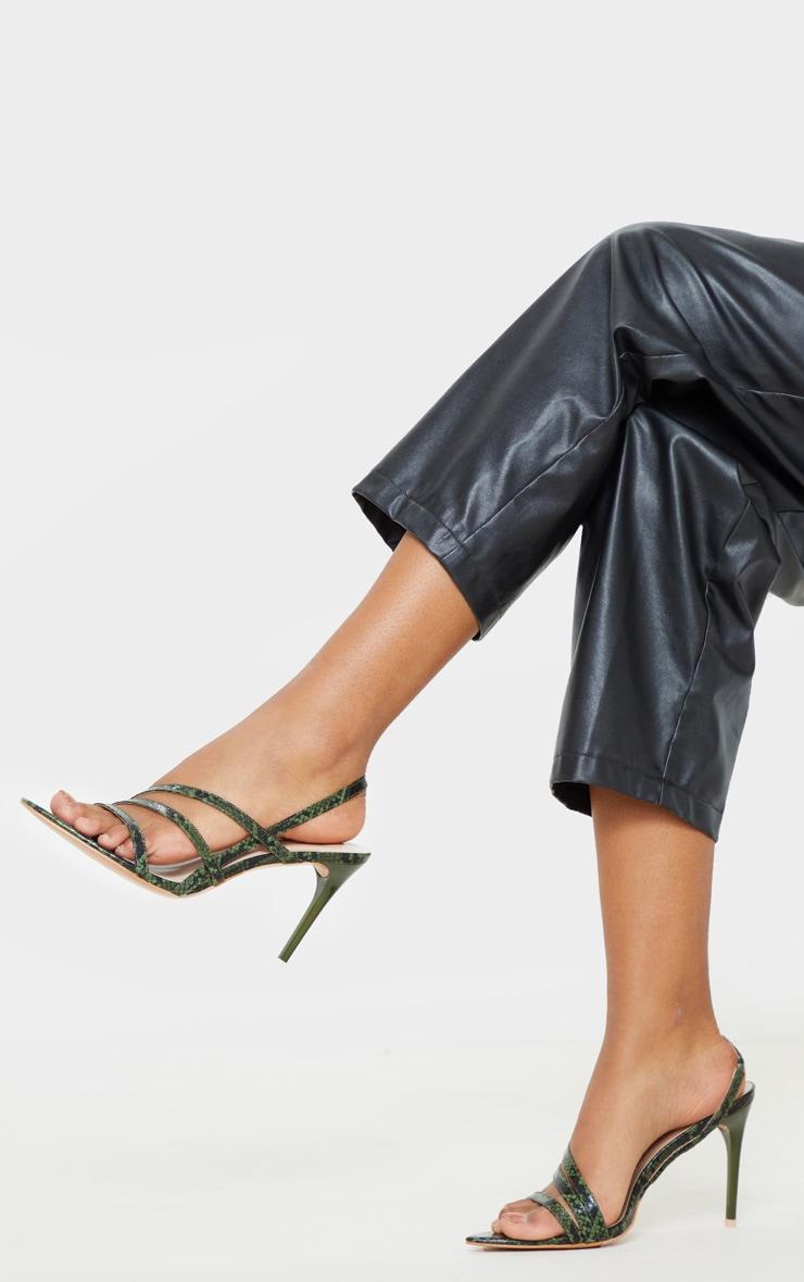Khaki Snake Slingback Strappy Sandal 1