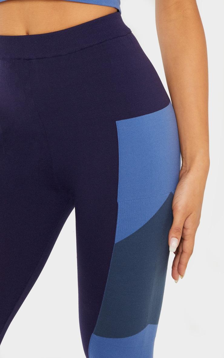 Blue Seamless Knit Gym Legging 4