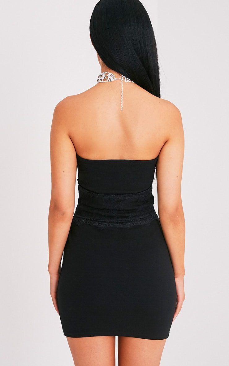 Albanie Black Corset Detail Bandeau Dress 2
