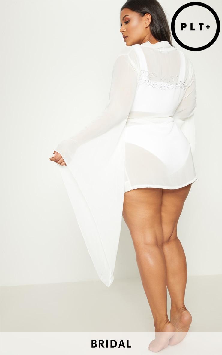 Plus Bride White Diamante Chiffon Kimono