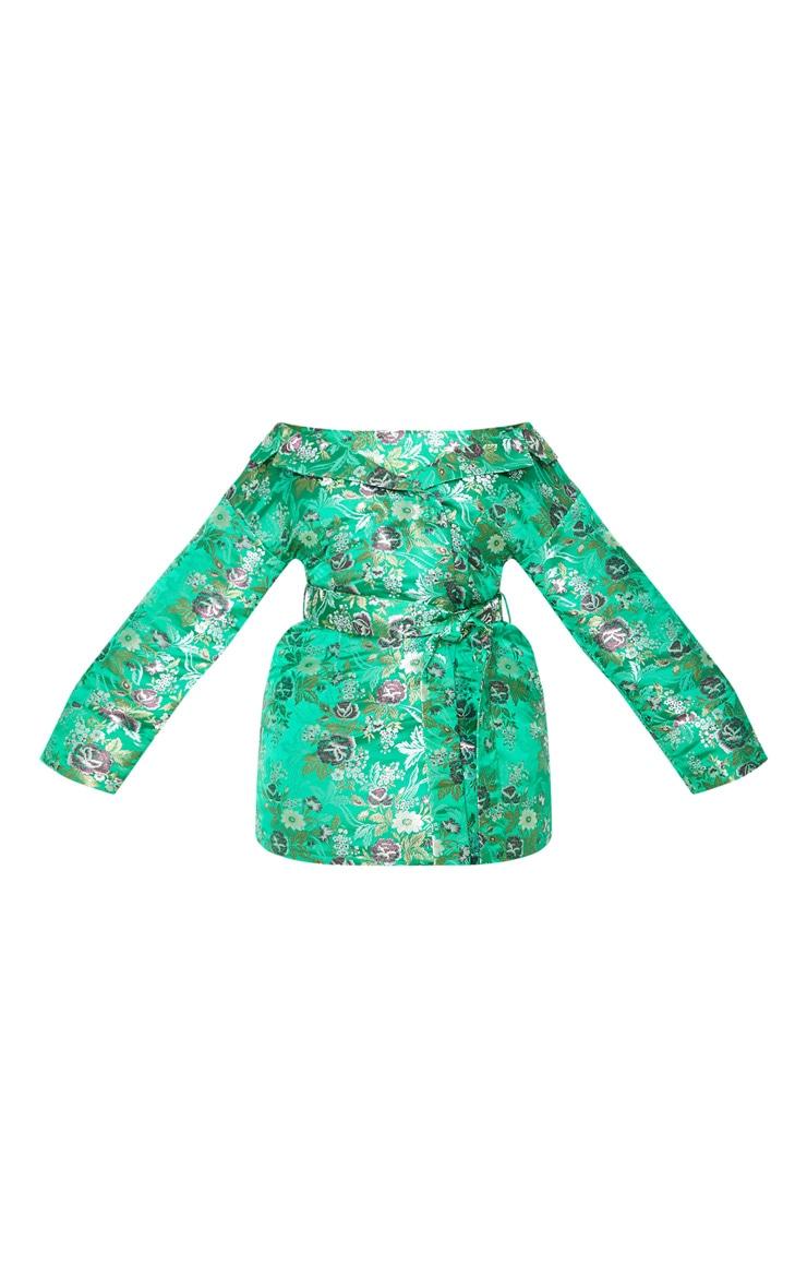 Plus Green Bardot Oriental Bodycon Dress 3