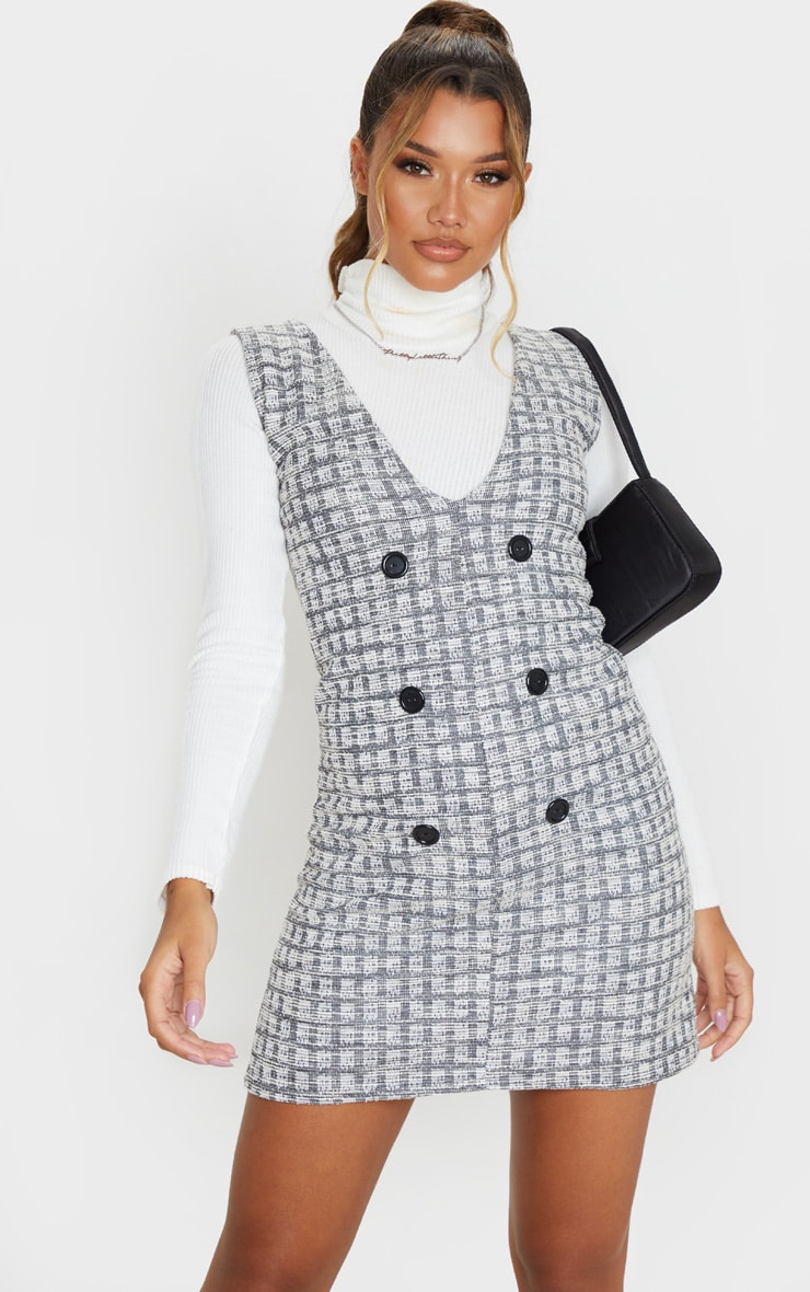 Black Tweed Button Front Shift Dress 1