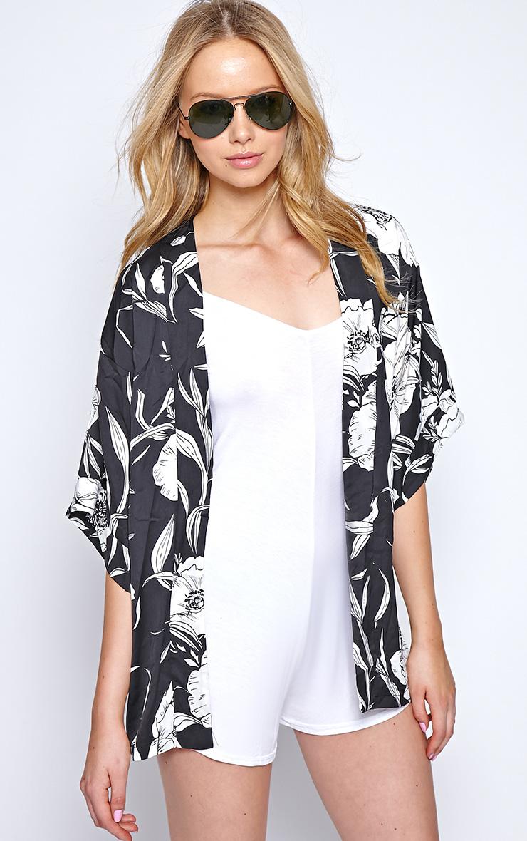 Ireni Black Bold Floral Print Kimono 1