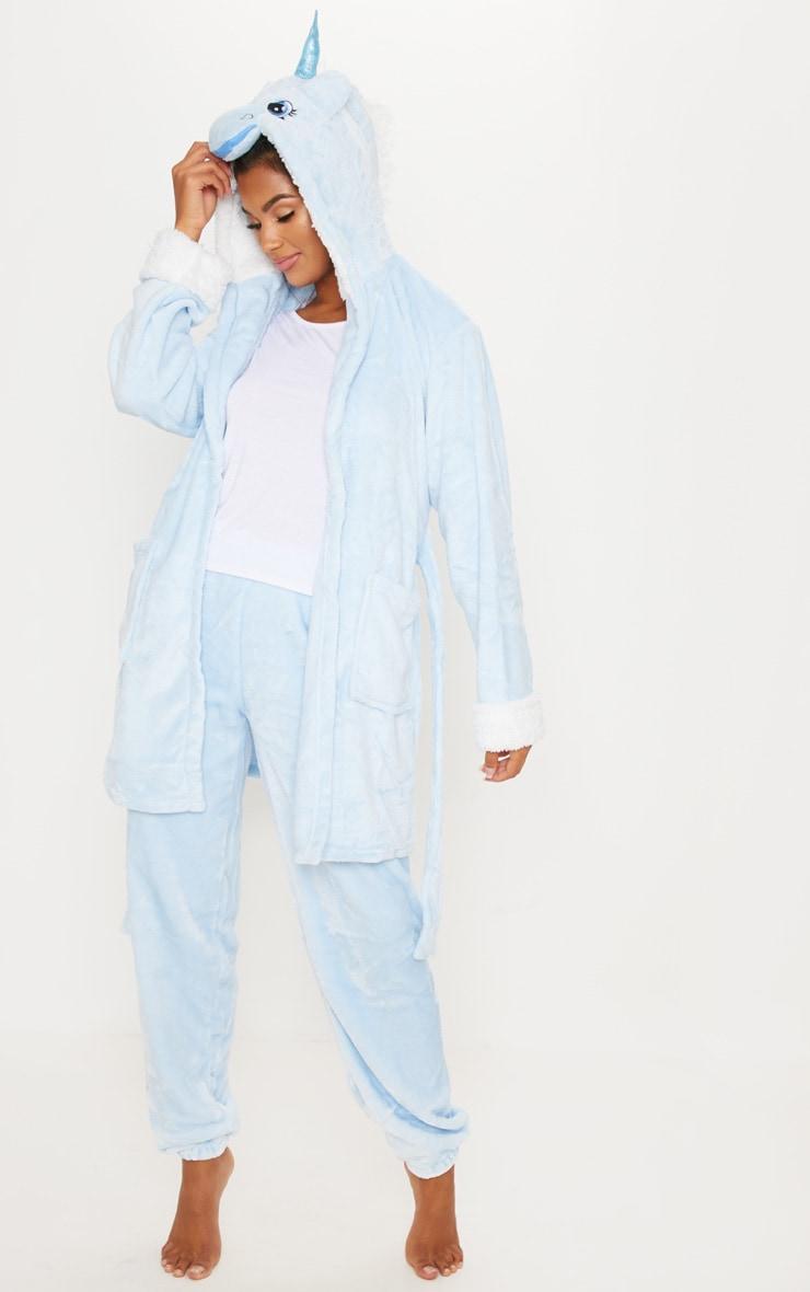 Pale Blue Unicorn 3D Hooded Robe 3