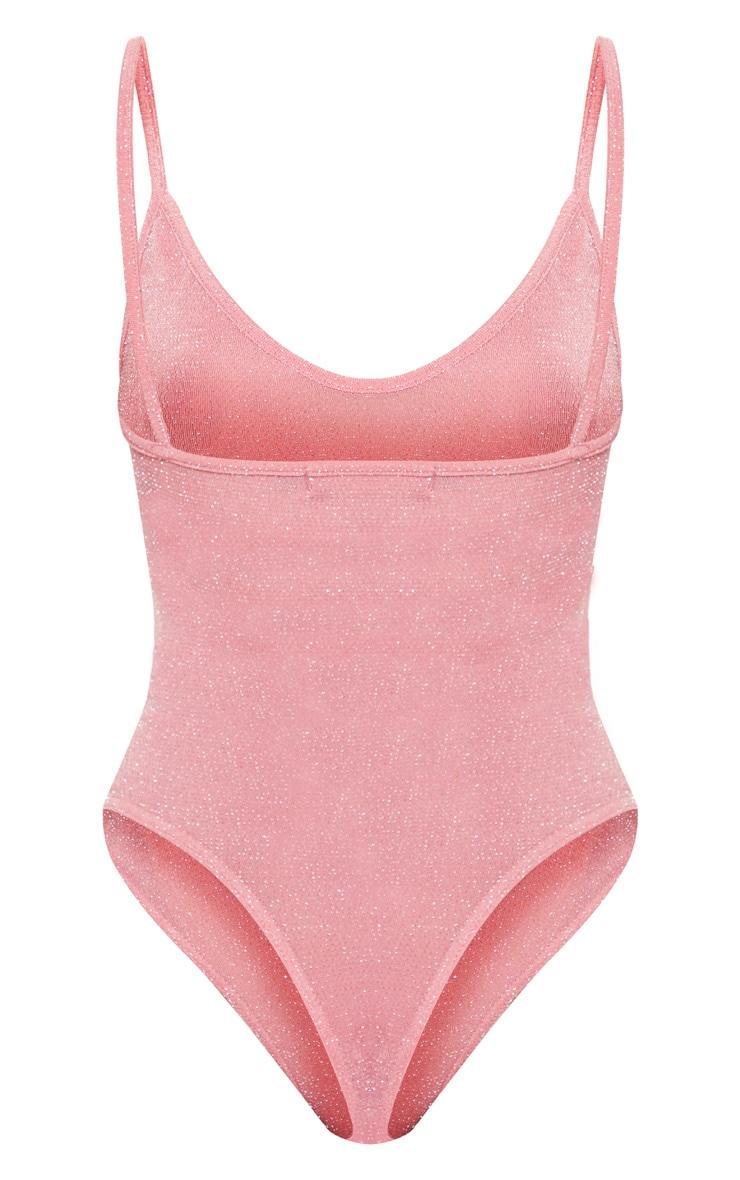 Light Pink Textured Glitter Strappy Bodysuit 4