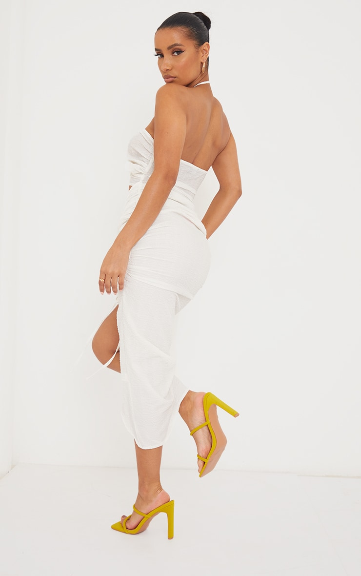 White Textured Bandeau Cut Out Ruched Midi Dress 2